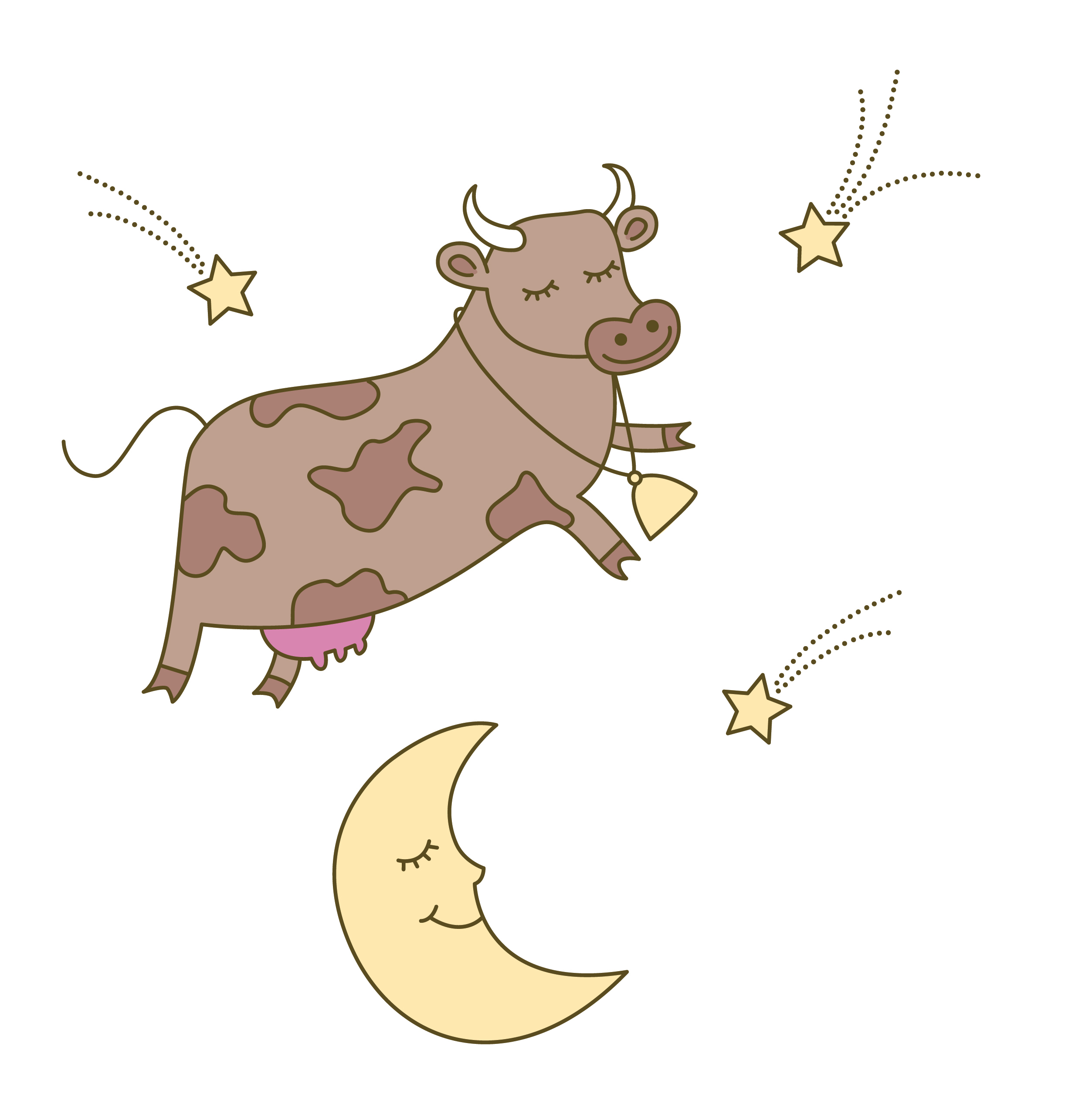 The cow jumped over the moon illustration.