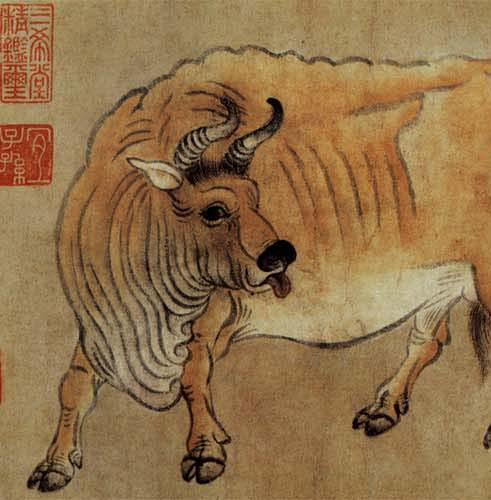 "Part of the painting ""Five Oxen"" by Han Huang (韓滉)"