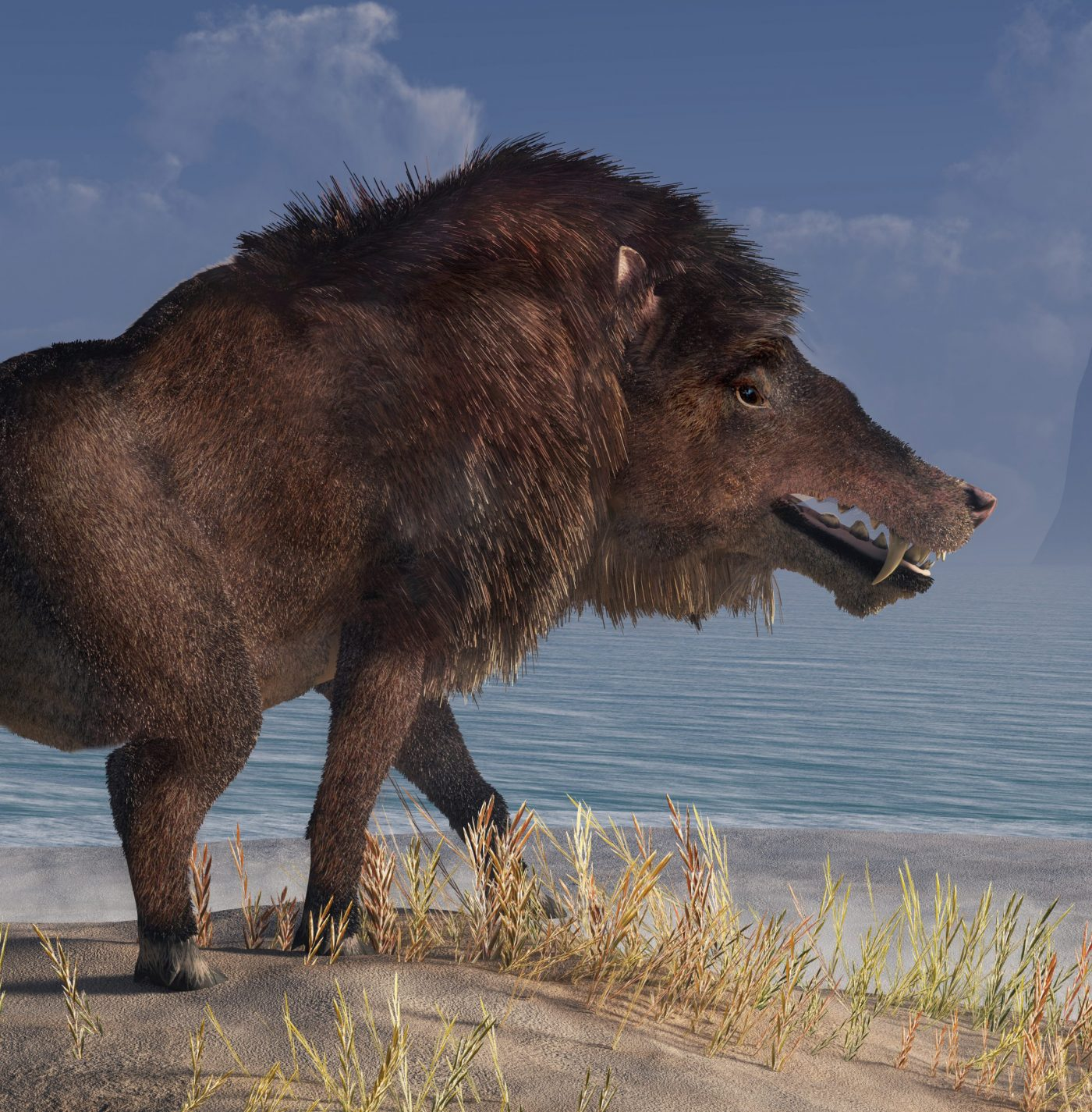 Andrewsarchus, an extinct creature of the Eocene period, was possibly the largest carnivorous land mammal ever, known only from a single fossil skull found in Mongolia. 3D Rendering.