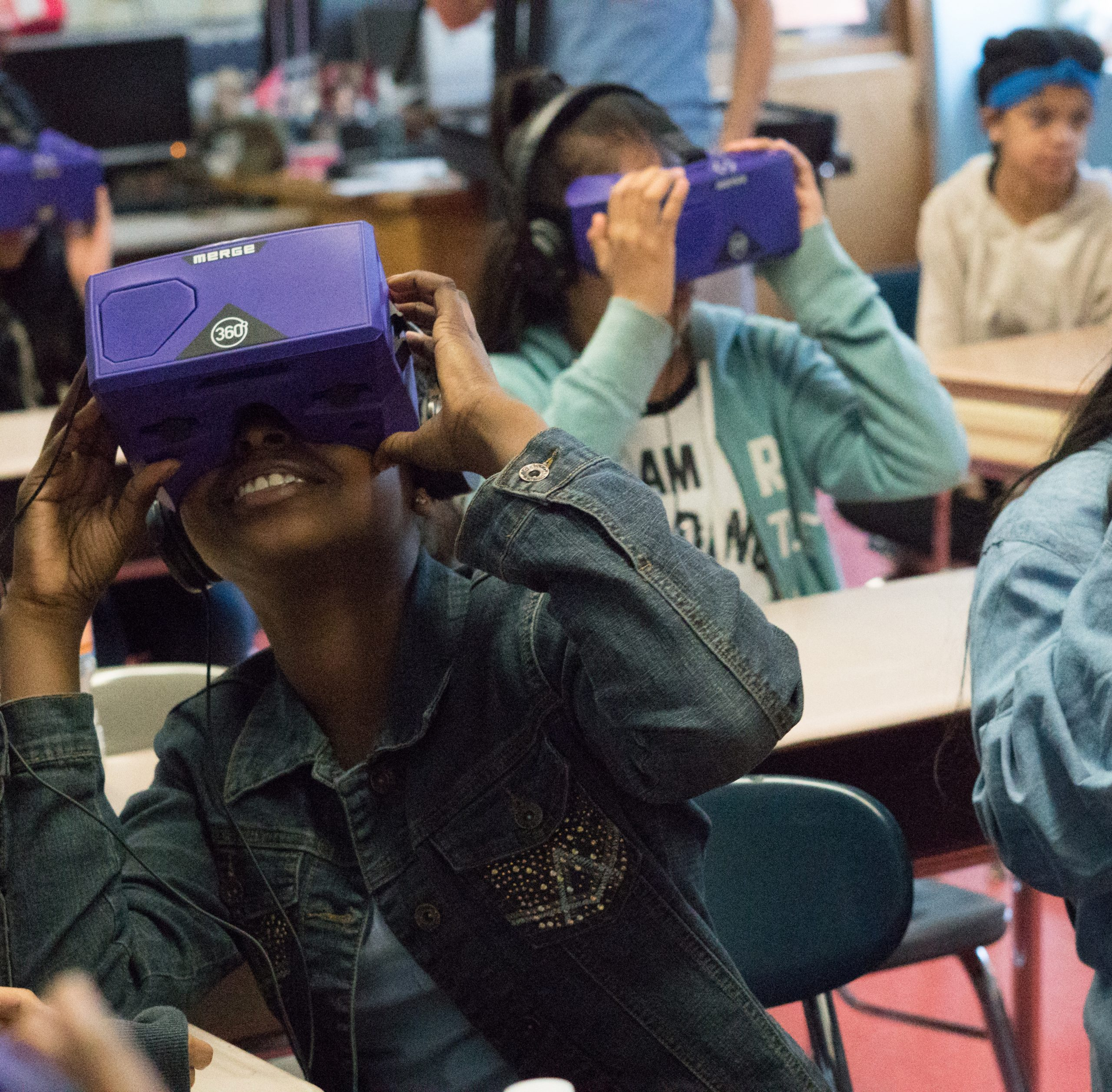 Students in VR headsets.