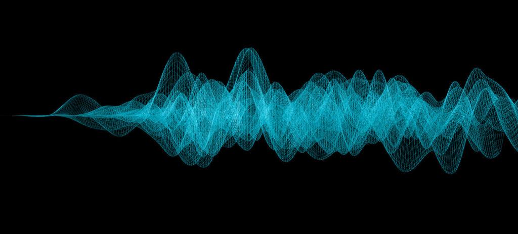 Blue Sonar Wave on Black Background