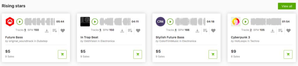 Stock Music Library Rising Stars Section Screenshot