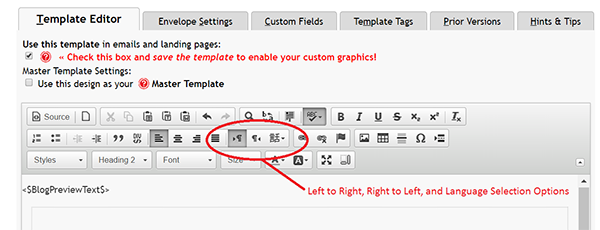 Screenshot of Advanced Template Editor and Icons to change Language