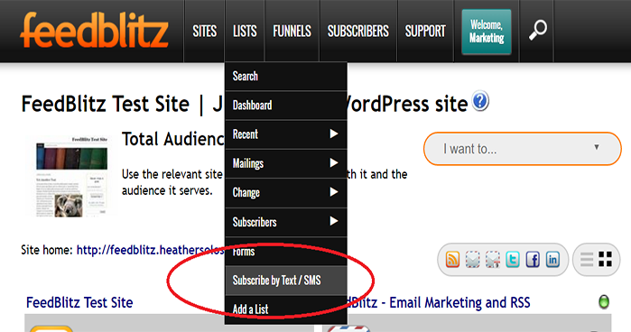 Screenshot of FeedBlitz Dashboard showing Subscribe via Text Option