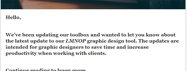 A clip from a very general email with no personalization.