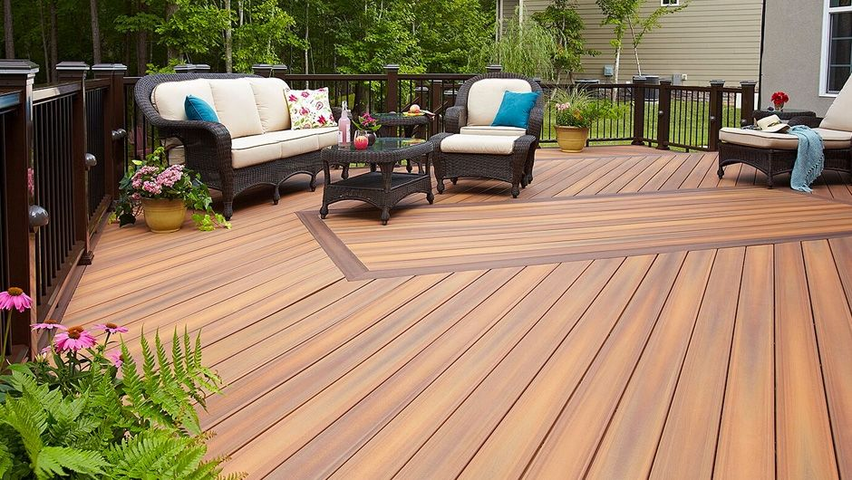 Deck stain ideas two tone simple green grass arrangement for Ipe vs composite decking