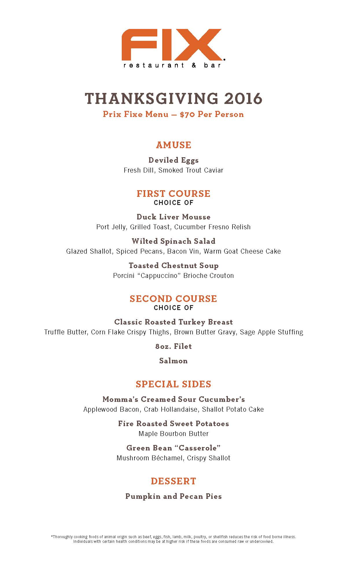 Thanksgiving Prix Fixe Menu Fix Restaurant Amp Bar Las Vegas