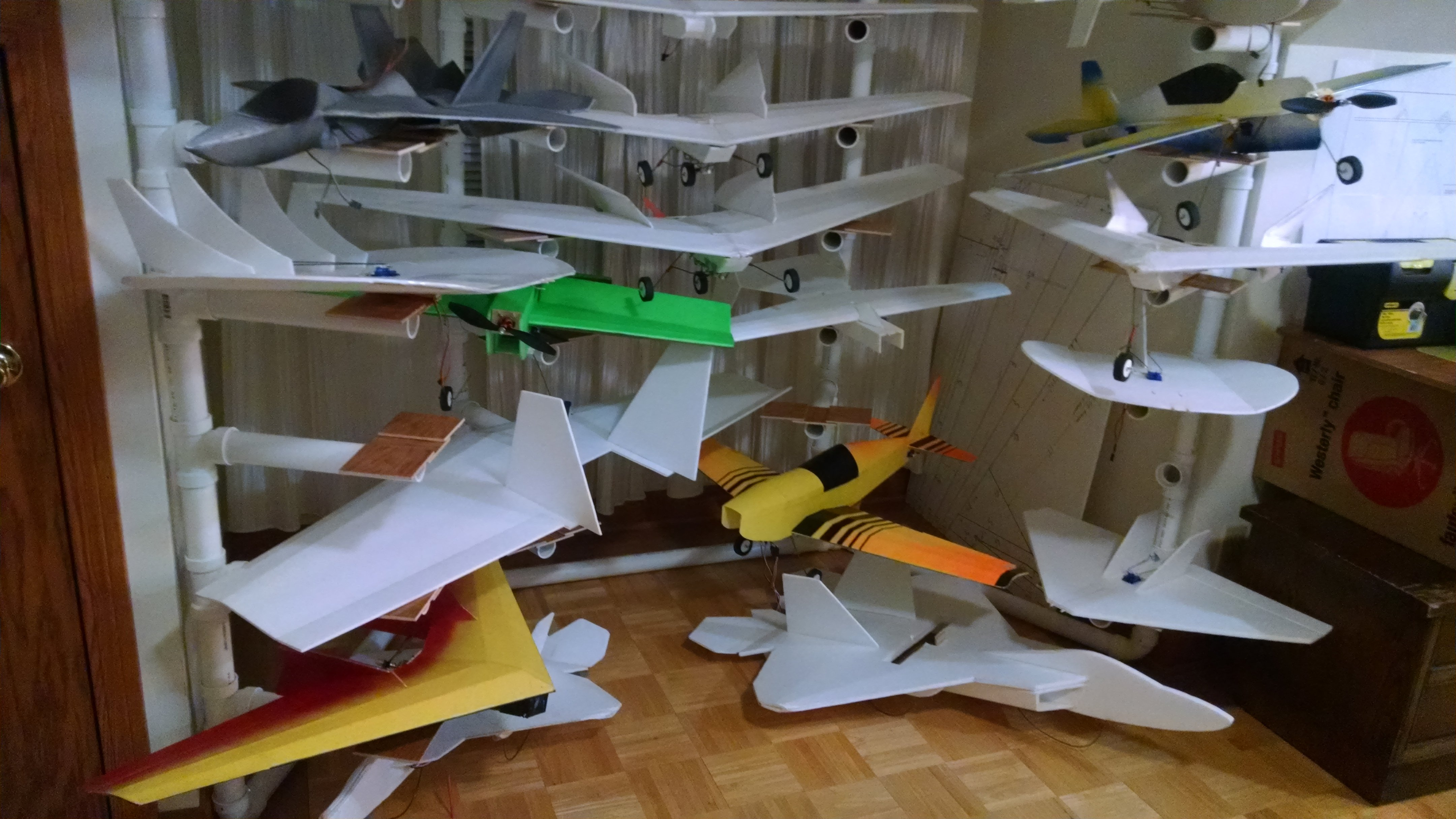 "Airplane Storage Rack 1 1 2"" PVC Pipe"