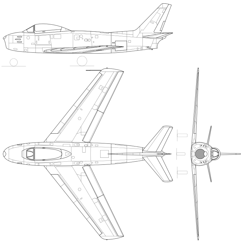 Orthographically projected diagram of the F-86 Sabre.