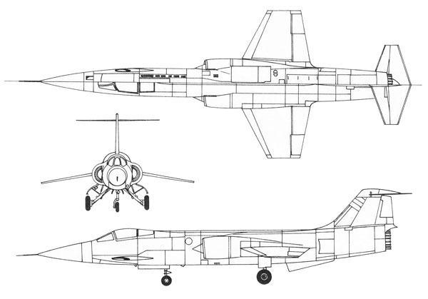 Image result for f-104 3 view