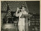 "Chaplain Joseph H. Freedman Hq, USAFIME, is shown blowing the ""Shofar"" during the annual religious service in observance of Rosh-Hashana. Photo by Sgt. E.M. Henderson, S.C., Signal Corps Photo Division, USAFIME."