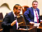 His Debut: Yehuda Glick gives his maiden speech before the Knesset on May 25, after his surprise ascent to the lawmaking body.