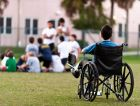 Disabled child is left out of a school activity.
