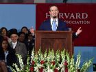 Facebook founder Mark Zuckerberg gives the commencement speech at Harvard, May 25, 2017.