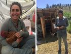 Farm team member Samantha Schwartz with chicken and eggs.