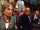 Rep. Jan Schakowsky, D-Ill., sits with Rep. John Lewis, D-Ga., to protest Congress's failure to act on recent gun violence.