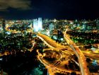 The Tel Aviv skyline at night.