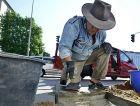 Step in Stone : German artist Gunter Demnig works on his 'Stumbling Blocks' Holocaust memorial.