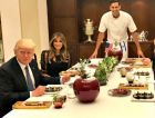 Family Dinner:  Chef Segev Moshe (center) stands at the table with (clockwise from left) President Donald Trump, First Lady Melania Trump, the Netanyahu's son Yair, Sara Netanyahu and the prime minister.