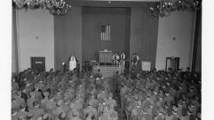 Pfc. Alfred Monheit of the Bronx, NY. sings the immortal Kol Nidre at Yom Kippur services held for GI's in Berlin, conducted by chaplain Isadore Breslau, Berlin, Germany, September 16, 1945.