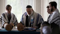 "Rabbi Rothschild (middle) officiates a Bar Mitzvah ceremony on the German hit TV show ""Tatort."""