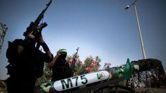 Hamas fighters testing a Gaza-made M-75 long-range missile, November 2012