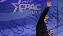 Steve Bannon and Reince Preibus at CPAC 2017