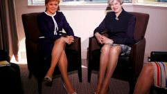 Scottish First Minister Nicola Sturgeon and British Prime Minister Theresa May in Glasgow.