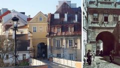 Right: The Grodzka gate which separated the Jewish and Christian sections of Lublin, 1942. Left: The Grodzka Gate Center, which is dedicated to preserving the memory of the city's former Jewish residents.