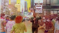 'Kinky Tramps,' shot 1985-1989 at Times Square, gum bichromate, 2001. To document fading Times Square 1985-1989,  Seigel befriended street hustlers and lurked in entryways to shoot unseen.  Copyright Estate of Judy Seigel.