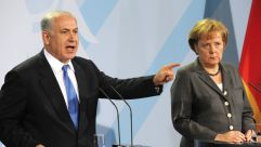 Israeli Prime Minister Benjamin Netanyahu and German Chancellor Angela Merkel at a press conference in Berlin, January 2010.