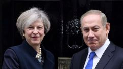 Israeli Prime Minister Benjamin Netanyahu meets with British Prime Minister Theresa May in London, February 6, 2017.