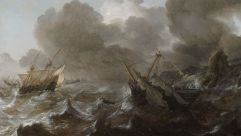 """Ships in Distress on a Stormy Sea"" by Jan Porcellis, which was recovered by the Max Stern Art Restitution Project."