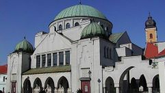 A synagogue in the city of Trencin, located near the western Czech border.