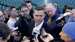 Theo Epstein answers questions during the 2016 League Championship Series.