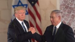 Donald Trump and Benjamin Netanyahu after Trump's speech at the Israel Museum in Jerusalem, May 23, 2017