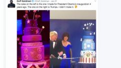 Food Network star pastry chef Duff Goldman noticed that the cake Trump sliced at an inaugural ball was a replica of the one he'd made for Obama's second inauguration.