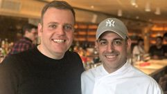Israeli Hospitality: Breads Bakery founder Gadi Peleg (left) and Israeli star chef Meir Adoni at the entrance to their new restaurant, Nur.