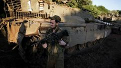 On Alert: Israeli soldiers were placed on heightened alert in the Golan Heights after an air strike inside Syria.