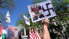 Anti-Semitic : Far right supporters rally in Budapest ahead of the World Jewish Congress meeting this weekend.