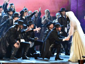 "The cast of ""Fiddler on the Roof"" performing at the 2016 Tony Awards ceremony."