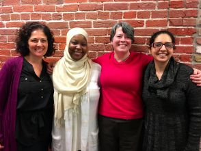 From left to right: Homa Sabet Tavangar, Kameelah Rashad, Eileen Flanagan, and Jaskiran Kaur