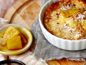 The base of this delightfully simple (and arguably sinful) soufflé is a store-bought blintz.