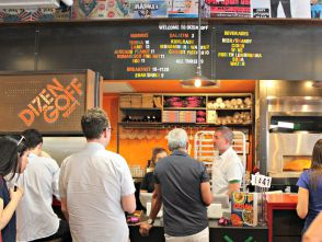 Michael Solomonov behind the counter of the new Dizengoff in New York's Chelsea Market.