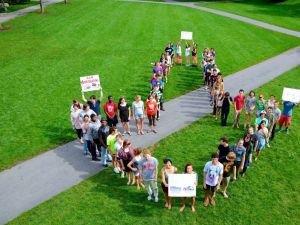Students at Skidmore College protest fracking.