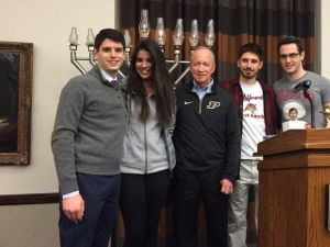 Purdue University President Mitch Daniels meets with Jewish students at a Chabad event.