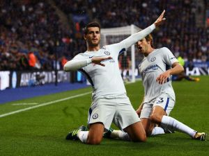 Alvaro Morata of Chelsea celebrates scoring his first goal for the team during the Premier League match against Leicester on at September 9, 2017.