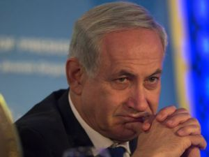 Straight Face: Israeli Prime Minister Benjamin Netanyahu attends the opening of the Conference of Presidents 40th Annual Leadership Mission to Israel, on February 17.