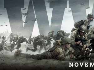 "A promotional image for the video game ""Call of Duty: WWII."""