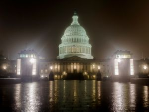 Washington, D.C.: The Capitol building at night.